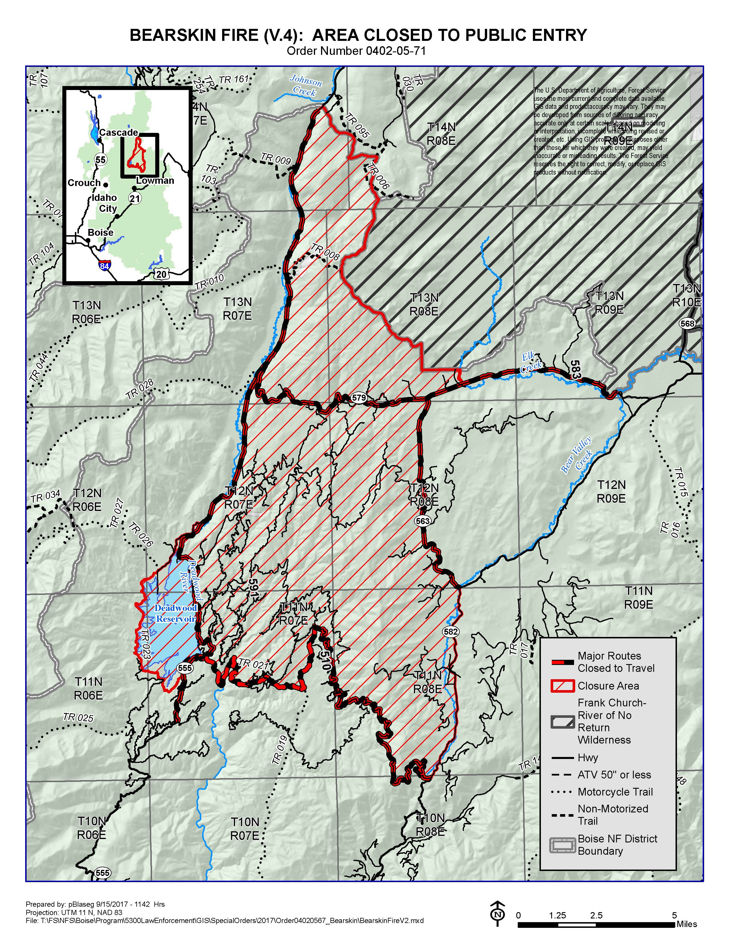 Boise National Forest Alerts Notices - Us 50 closure map