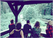 Photograph of visitors in the viewing tower at Pack Creek Bear viewing area.