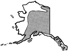 Figure 3. The distribudon of kinnikinnik in Alaska (adapted from E. Hulten, 1968, Flora of Alaska). Because the disease is never far from kinnikinnik, this map roughly shows the range of spruce broom rust in Alaska. Nodce that it is missing from most of southeast Alaska.