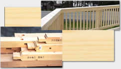 wood railing and post and beam construction materials