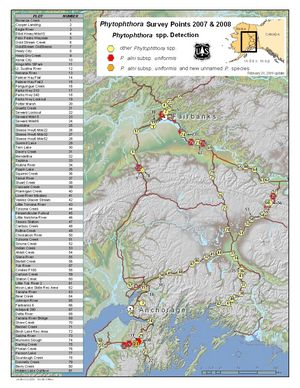 map - Phytophthora sample sites