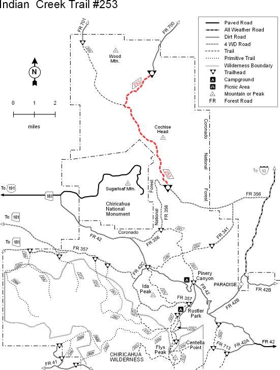 Coronado National Forest - Indian Creek Trail #253 on beaver creek trail map, twin sisters trail colorado map, island lake trail colorado map, crags trail colorado map, rainbow trail colorado map, waterton canyon trail map, three lakes trail colorado map,