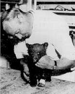 Baby Smokey with the vet who treated his burns.