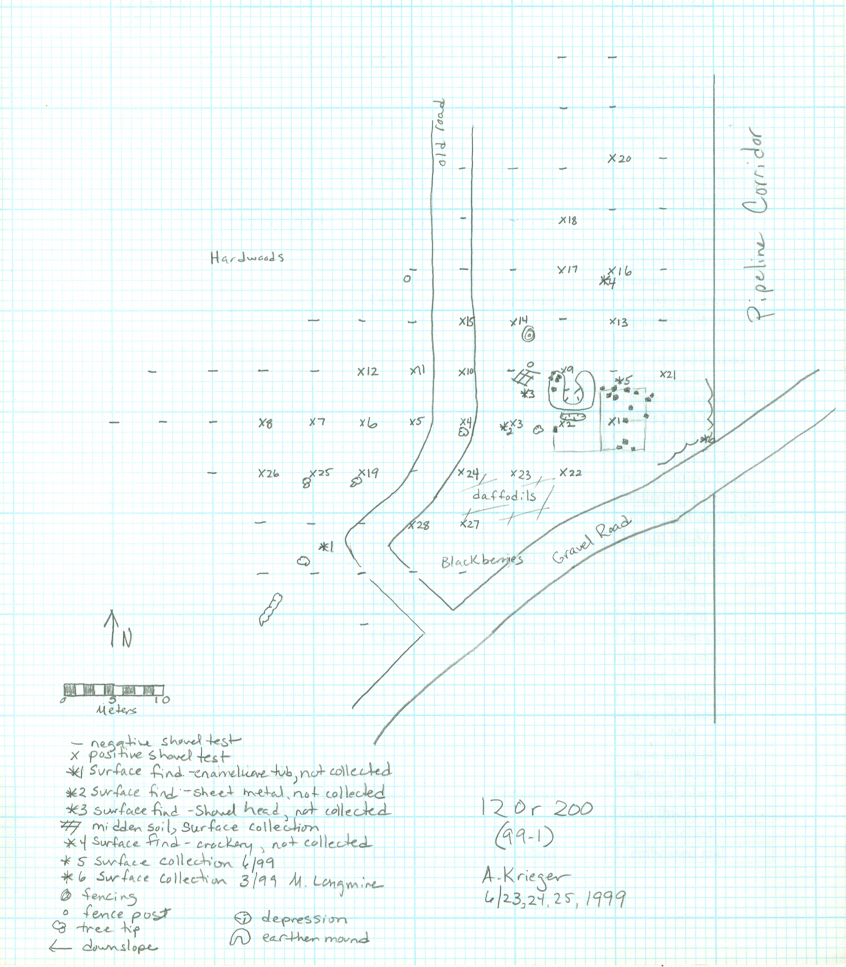 site sketch of tenant farm at Lick Creek Settlement