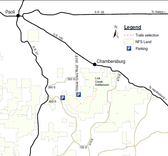 vicinity map of lick creek settlement