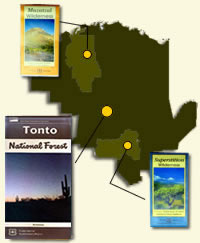 Location map for Tonto National Forest, Superstition and Mazatzal Wildernesses