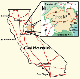 National Forests In California Map.Tahoe National Forest About The Forest