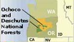 Graphic: General location of Deschutes and Ochoco national Forests in Oregon.