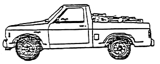 illustration of firewood in a short bed pickup truck