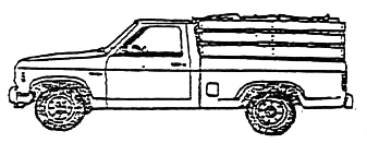 illustration of firewood in a long bed pickup truck