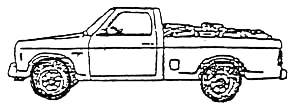 illustration of wood in a small pickup truck