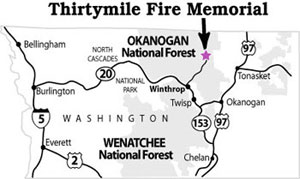map of Thirtymile Memorial