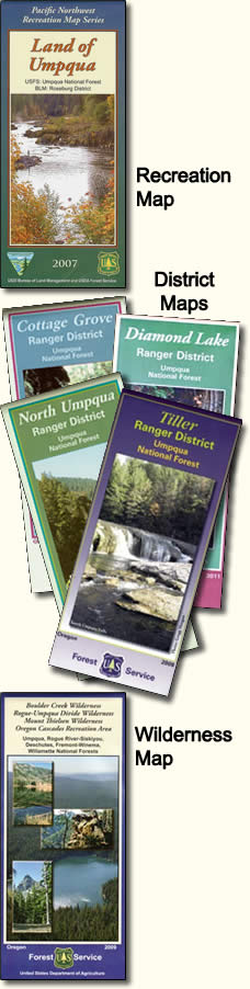 [IMAGE: Land of Umpqua, Cottage Grove, Diamond Lake, North Umpqua, and Tiller Ranger District Maps]