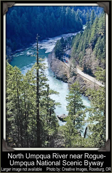 [PHOTO: North Umpqua River near Rogue-Umpqua National Scenic Byway - Larger image not available - Photo by: Creative Images, Roseburg, OR]