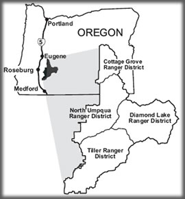 [MAP: State of Oregon with location of Umpqua National Forest in southwestern corner of state.  Outline of forest with Ranger District boundaries]