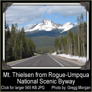 [PHOTO: Mt. Thielsen from Rogue-Umpqua National Scenic Byway - Click for larger 565 KB JPG - Photo by Gregg Morgan]