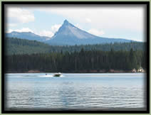 [PHOTO: Lemolo Lake with Mt. Thielsen in background - Click for larger 407 KB JPG - Photo by Greg Morgan]