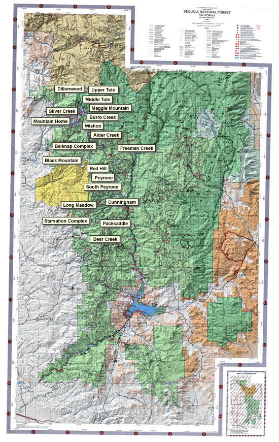 Sequoia National Forest Recreation Map, Southern Portion