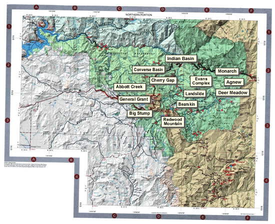 Sequoia National Forest Recreation Map, Northern Portion