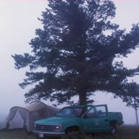 photo of Forest Service vehicle under a tree and next to a tent