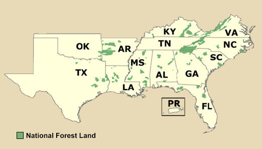 Region Home - Map of the southern region of the us