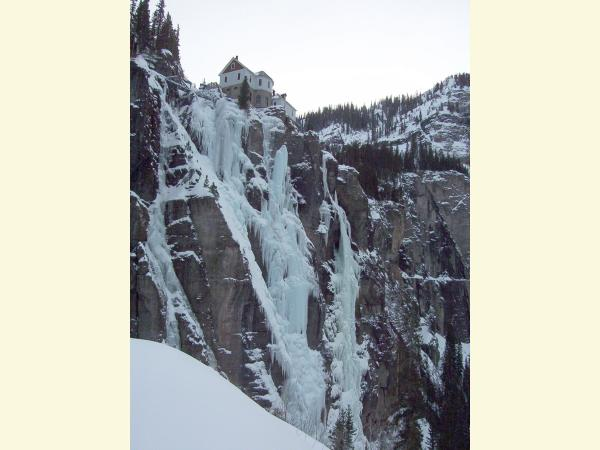 Photo of Bridal Veil Falls  near Telluride in the winter.