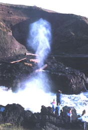 photo of spouting horn with large plume of ocean spray