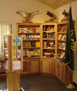 Photo: Books and other materials for sale in the Visitors Center