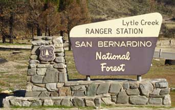 Photo: Entrance sign to Lytle Creek Ranger Station