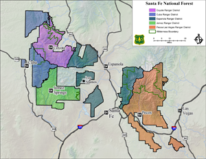 Santa Fe National Forest, district boundary map