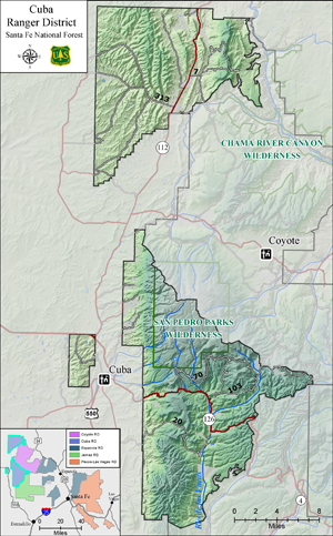 Santa Fe National Forest, Cuba boundary map
