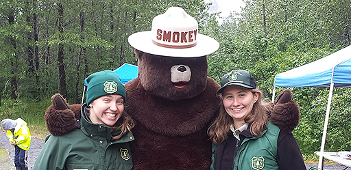 BBVC Interns Maia and Beata with Smokey at Kid's Fish Day in Portage Valley.