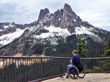 Man in wheelchair at Washington Pass Viewpoint