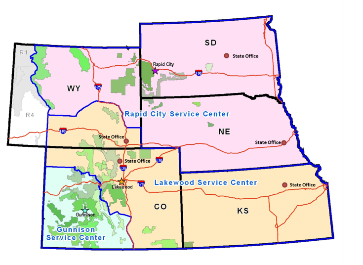 Map of the Rocky Mountain Region, divided up into service center stations.