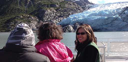 Geri Keh at work on the MV Ptarmigan sharing information with visitors about the glacier.
