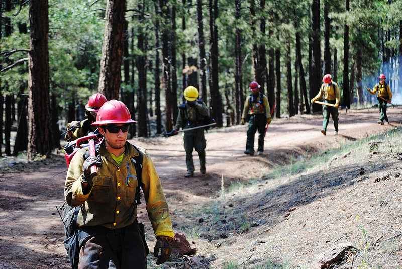 Firefighters patrol the perimeter of a wildland fire on the Kaibab National Forest.