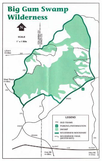 Big Map Of Florida.Osceola National Forest Big Gum Swamp Wilderness