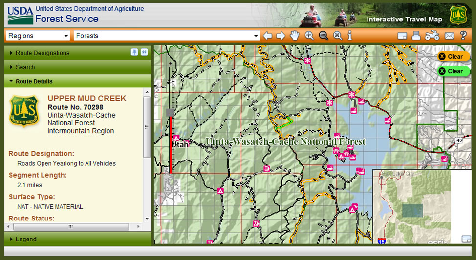 Image of the Interactive Travel Map with snap shot of a national forest trail system
