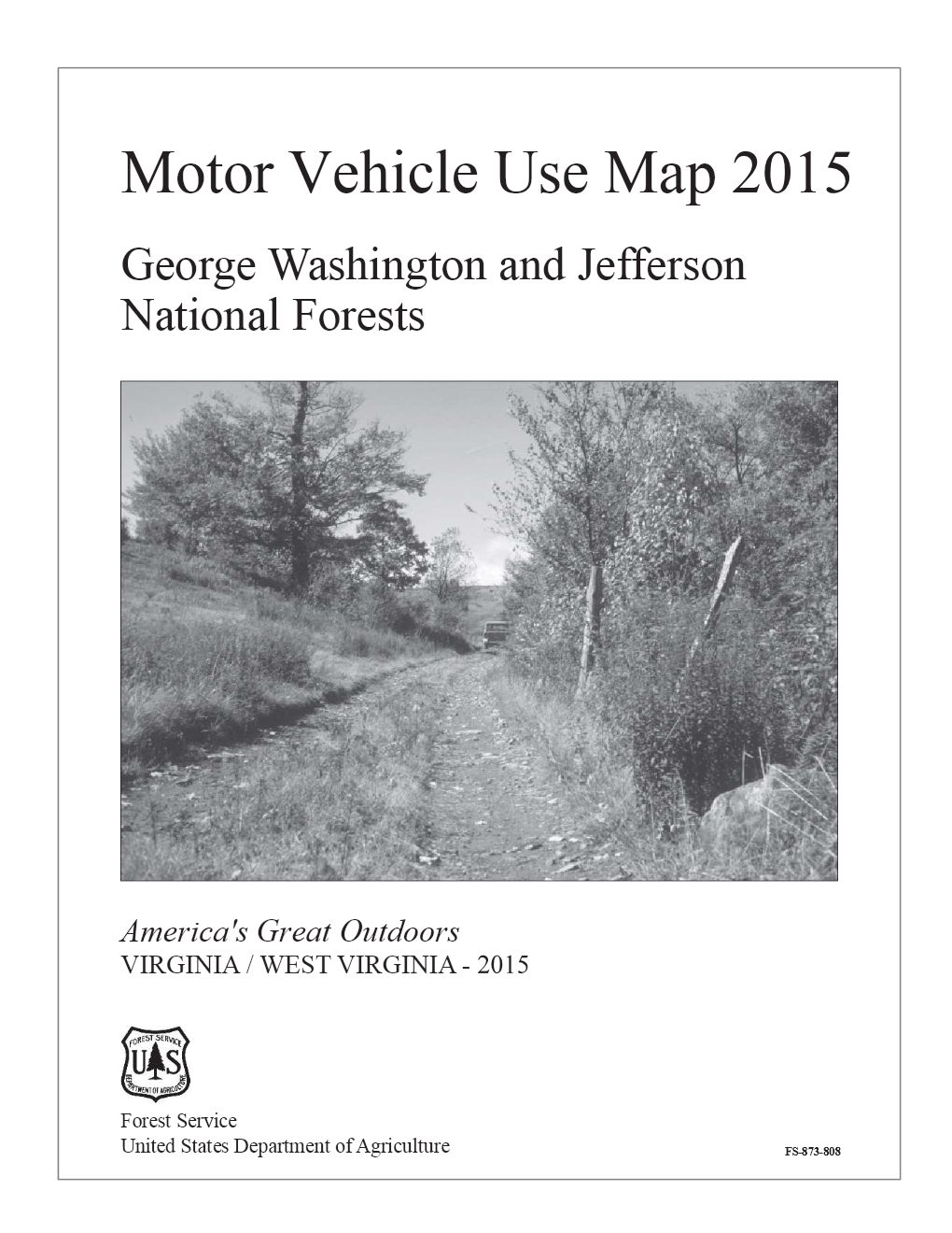 Cover of the 2015 MVUM document with image of dirt road