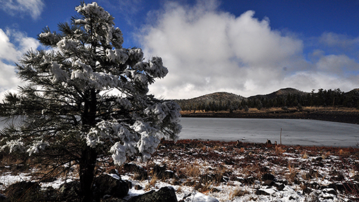 Cataract Lake with snow