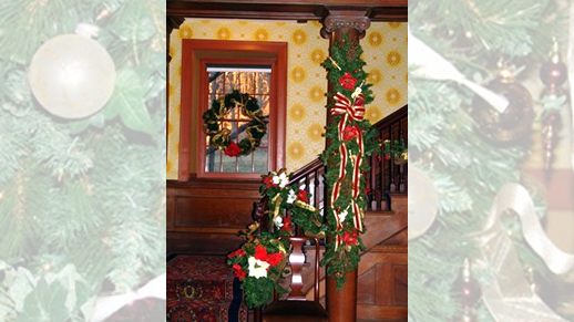 Banister decorated in Great Hall