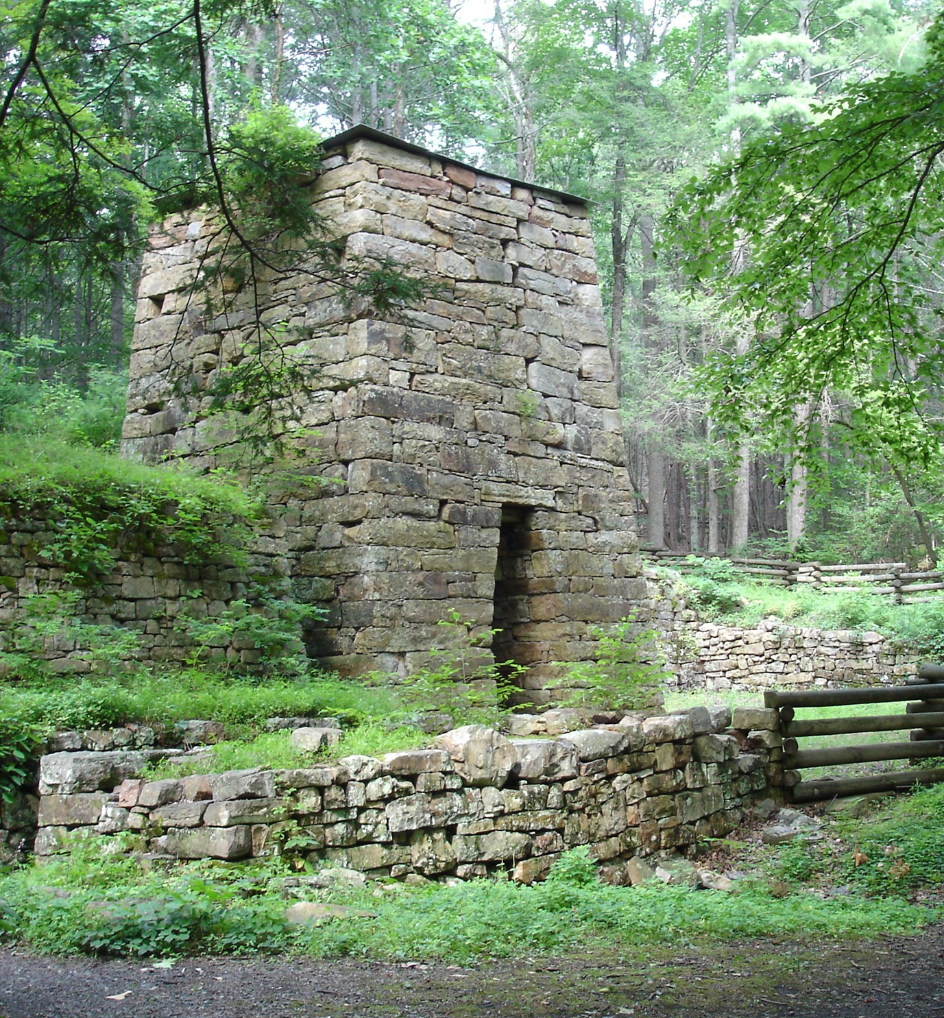 Historic Iron furnace in a wooded setting