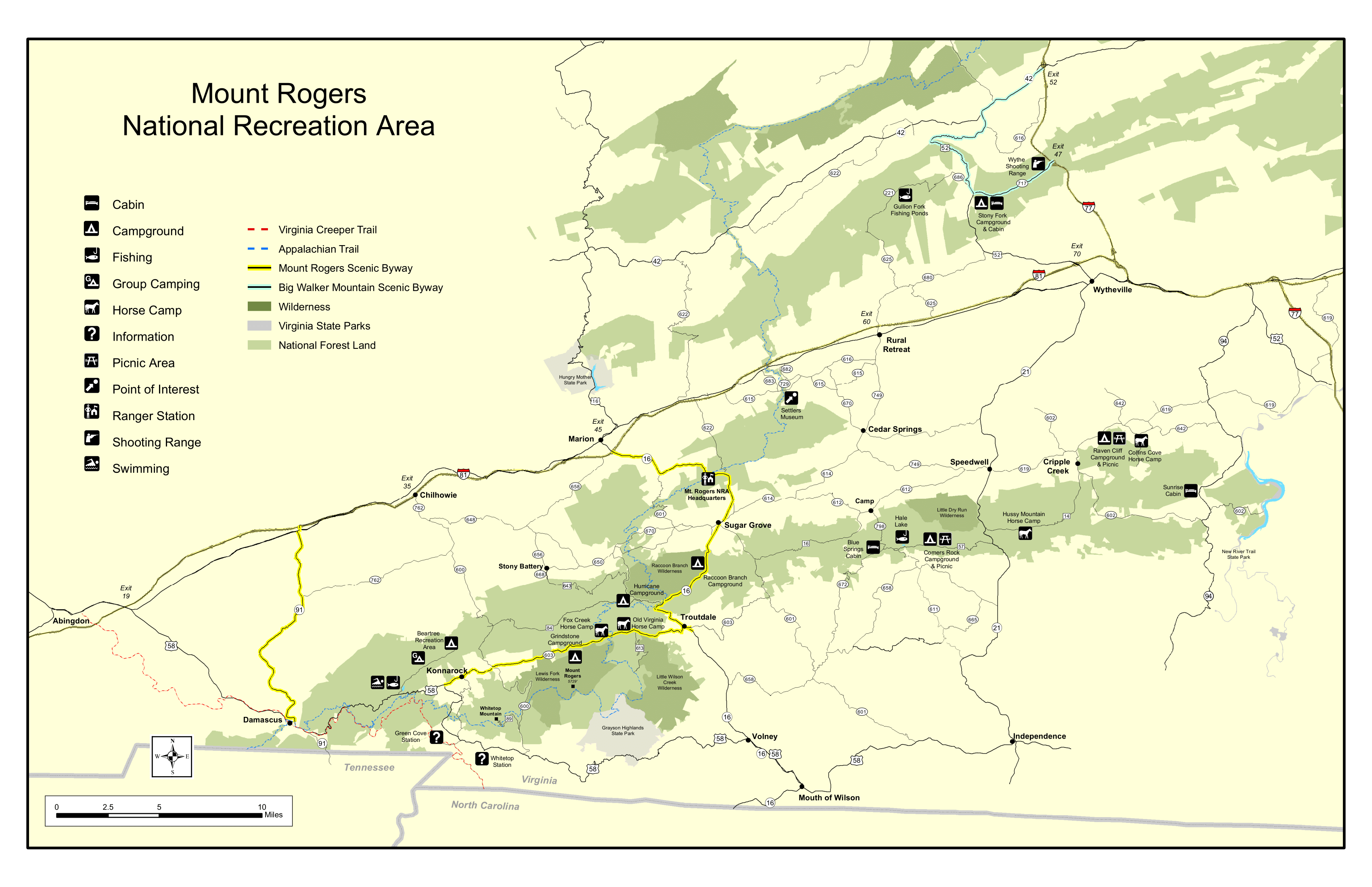 Mt. Rogers National Recreation Area Map of roads, trails, and boundaries