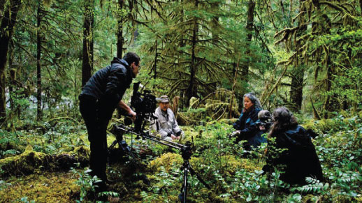 Filming a movie on a national forest