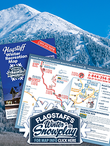 Map of wintertime recreation sites around Flagstaff, Arizona