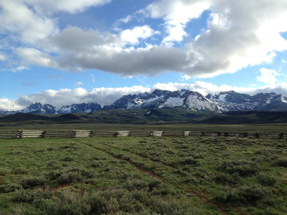 Mountains, log fence, grasses and sagebrush
