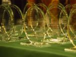 Laser-etched, glass trophies line a green table.