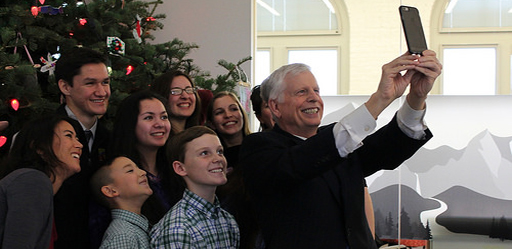 Chugach Children's Forest alumni and their mentors take a selfie with U.S. Forest Service Chief Tom Tidwell.