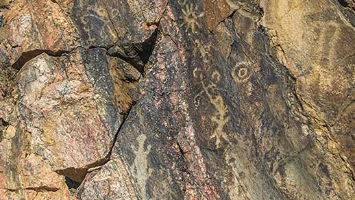 Ancient pictograph art on rocks