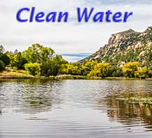 "The words ""Clean water"" on a backdrop of Granite Basin Lake"